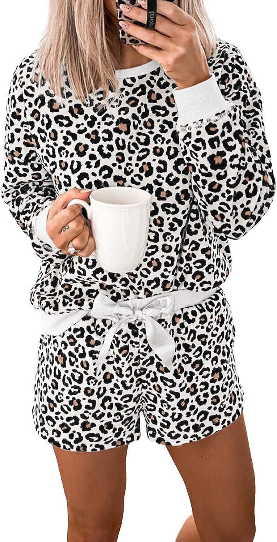 Lovezesent Women's Plaid Long Sleeve Top and Shorts Loungewear Pajamas Sets Pjs