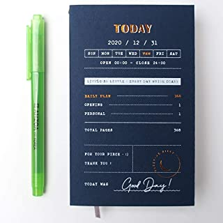 2020 Sleeping Piece Daily Diary with AHZOA H1 Highlighter, Dated Planner, Hard Cover (Navy)