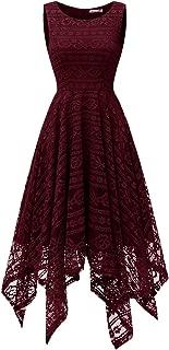 Womens Scoop Neck Floral Lace Handkerchief Hem Cocktail Party Flowy Dress
