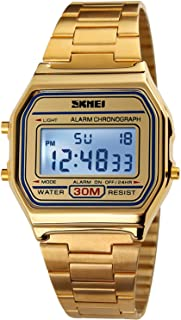 Men's Digital Gold Stainless Steel Watch Backlit Multifunction Stopwatch Waterproof Sport Watches