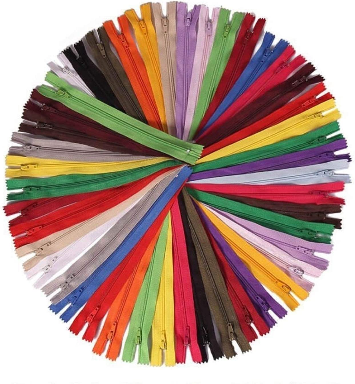 wangtao 100 Pieces Nylon sold out Colorado Springs Mall Coil Zippers 20 Co Inches 8 12 Colorful