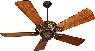 Craftmade K10273 Downrod Mount, 5 Hand-Scraped Teak Blades Ceiling fan, Aged Bronze/Vintage Madera