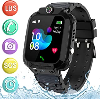 Kids Waterproof Smartwatch Phone - Children Touchscreen Watch Position LBS Locator with Call Voice Chat Games Alarm Clock SOS Wristband for Boys Girls Grade Student Gifts (Black)