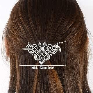 Viking Celtic Hair Clips Hairpin-Viking Hair Sticks Ladies Hair Accessories Triangle Clips for Long Hair Slide Pin Irish Antique Silver Hairstick Celtic Knot Viking Jewelry Hair Clip Men Gift (C-C)