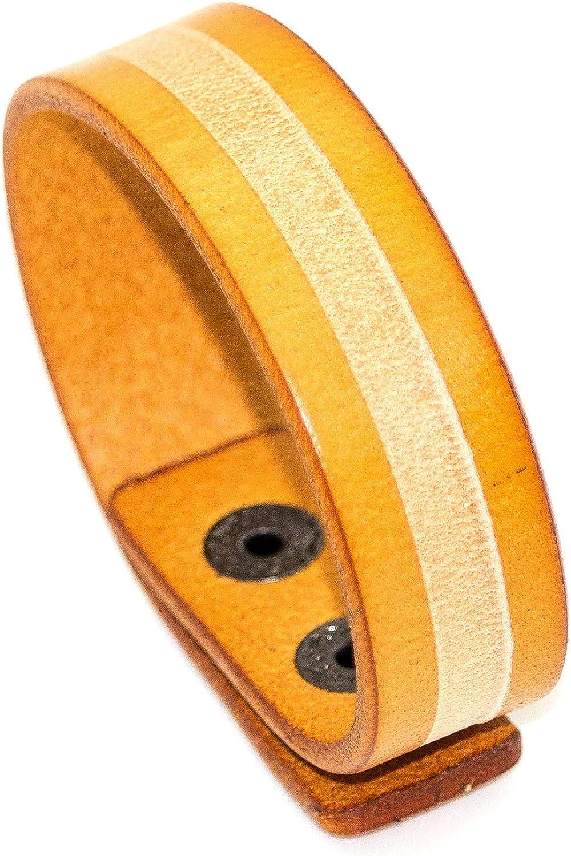 Mgutillart Punk Vintage Metal Buckle Wristband Stripe Leather Cuff Bracelet