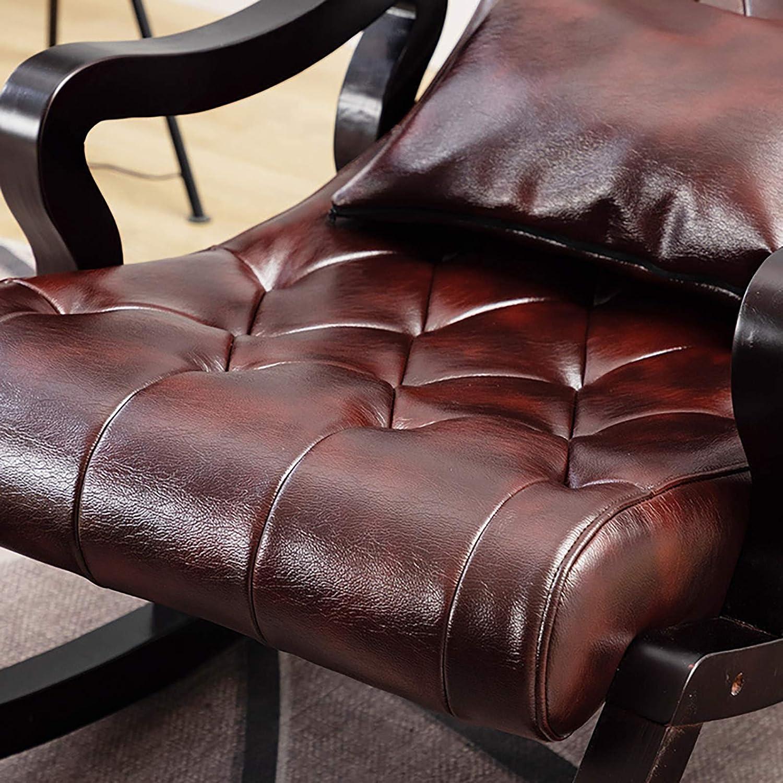 ATTDDP Balcon Chaise Berçante À Bascule Confortable Relax Rocking Chaise Longue À Domicile en Cuir Chaise pour Bureau Salon Chambre Meubles,A D