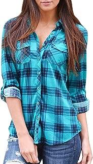 Women's Casual Loose Cuffed Sleeve Plaid Button Down Shirt