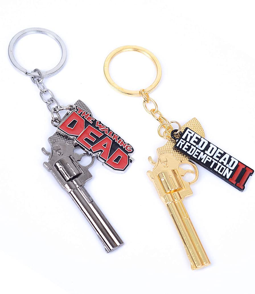 Pack of 2 The Walking Dead and Red Dead II Redemption Keychain Decorations Cool Keyring Pendant Charms Gifts for Boy Girl Best Friends/Collections