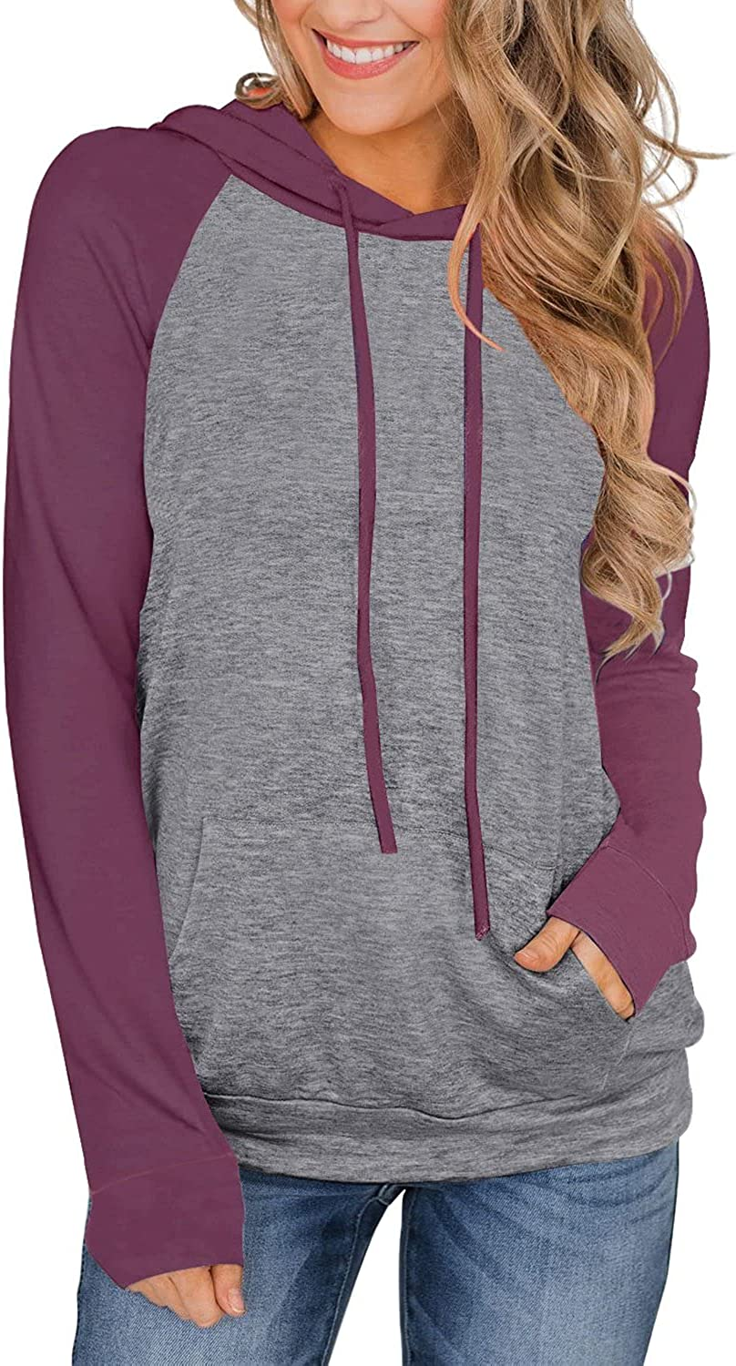 PINKMSTYLE Cheap At the price of surprise mail order shopping Womens Color Block lightweight Casual Hoodies Drawstr