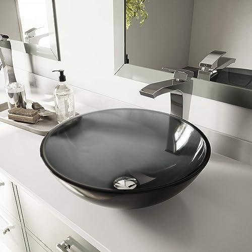 "VIGO VG07042 16.5"" L -16.5"" W -6.0"" H Sheer Handmade Countertop Glass Round Vessel Bathroom Sink in Sheer Black Finish"