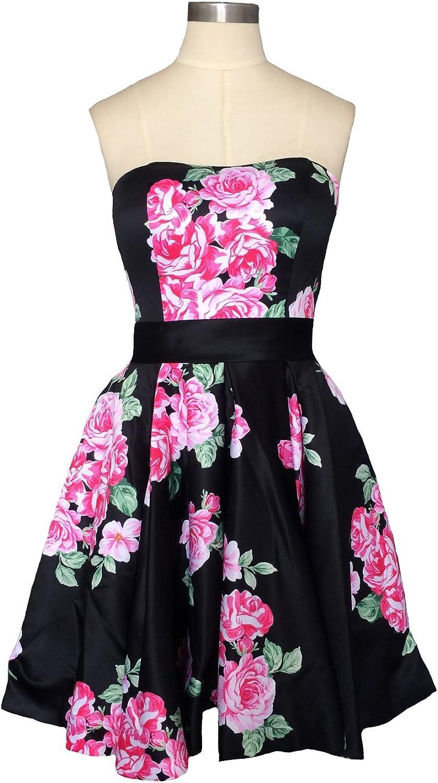 Dearta Women's ALine Strapless Short Mini Floral Printed Homecoming Dresses