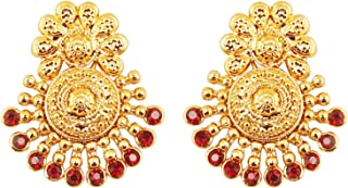 Indian Bollywood Ancient Southern Gold Bahubali Inspired Bridal Traditional Jewelry Earrings Embellished With Faux Turquoise For Women