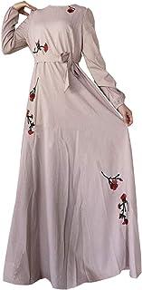 女性 アバヤ ドレス カフタン ガウン - 女性プラスサイズ刺繍花柄マキシ ドレス長袖エレガントなカクテル ローブ (M-4XL)