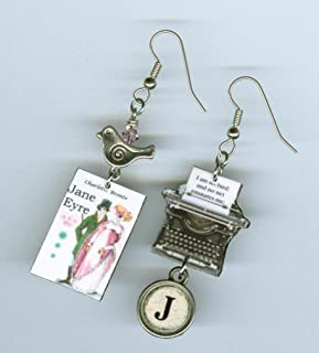 Book Cover Typewriter key Earrings Jane Eyre Charlotte Bronte quote bird