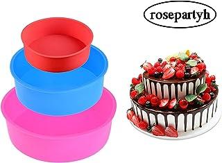 rosepartyh Molde de Pastel de Silicona Moldes para Hornear Redondos Bandeja para Pan Sin BPA Antiadherente Rojo Rosa Azul 4 Pulgadas 6 Pulgadas 8 Pulgadas Juego de 3