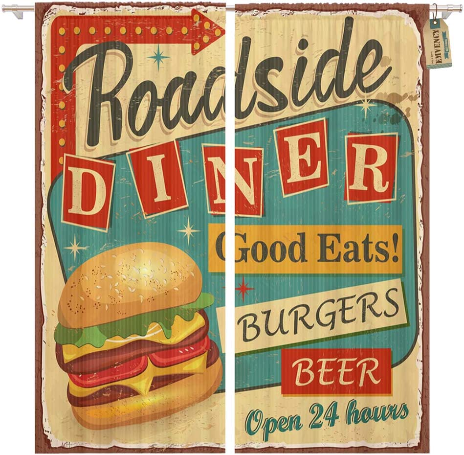 Amazon Com Golee Window Curtain 1950s Vintage Roadside Diner Metal Sign Burger Retro Food Home Decor Pocket Drapes 2 Panels 104 X 63 Inches Kitchen