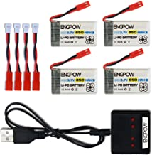 ENGPOW 3.7V 850mah Rechargeable Lipo Battery for MJX X400 X400W Holy Stone X300C X400C X800 HS110 HS200 Syma X56W Sky Viper S670 V950hd s1750 V2450 RC Quadcopter Drone with X4 Charger