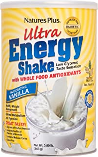 NaturesPlus Ultra Energy Shake - .8 lbs, Vegetarian Protein Powder - Vanilla - Plant-Based - Supports Weight Management, Low-Glycemic Diets & Healthy Blood Glucose - Gluten-Free - 11 Servings