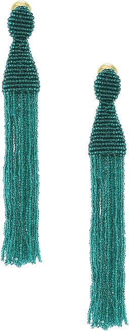 Oscar de la Renta - Long Beaded C Tassel Earrings