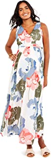 Women's Maternity Sleeveless Surplice Pintuck Waist Maxi Dress