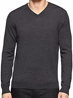 Calvin Klein Men's 100% Merino Wool Classic Fit Solid V-Neck Sweater
