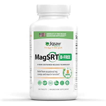 MagSRT (Jigsaw Health Magnesium w/SRT - B-Free) Premium, Organic, Slow Release Magnesium Supplement - Active, Bioavailable Magnesium Malate Tablets - 240 ct
