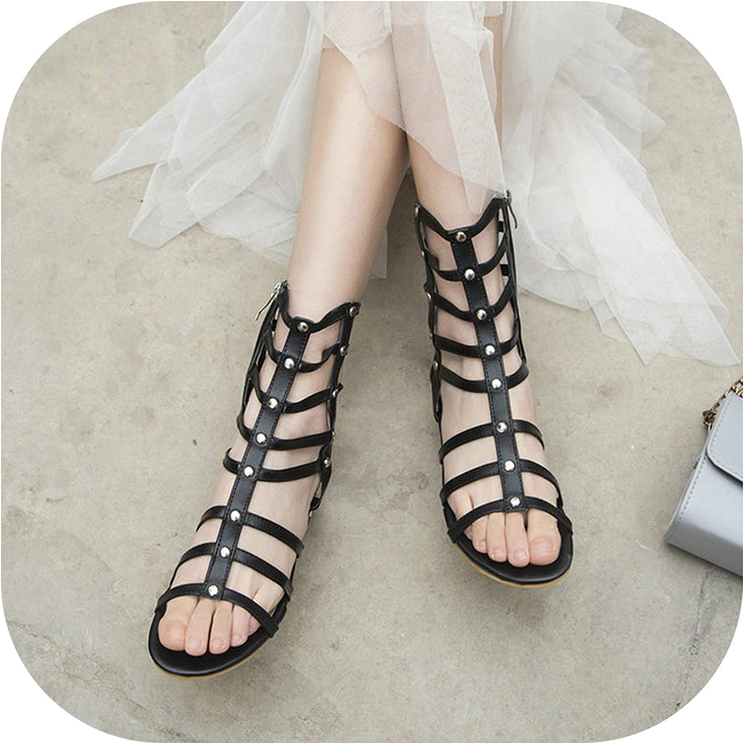 2019 Summer Gladiator Sandals Female Open Toe Low Heels Zipper Casual shoes Women White Black Brown Size 34-43,Black,10