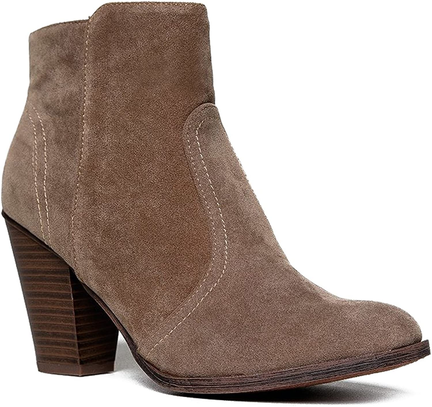 Breckelles Womens Almond Toe Faux Suede Think Chunky Heel Cowboy Ankle Bootie