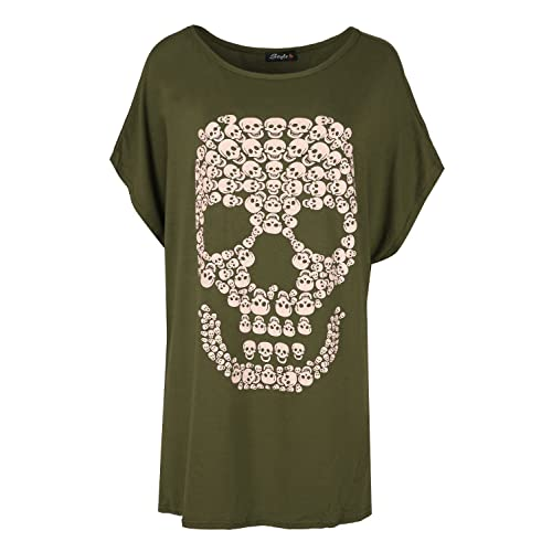 a75ac452bb33 Womens Halloween Baggy Lagenlook Top Spooky Skull Batwing Scary Loose Fit T  Shirt