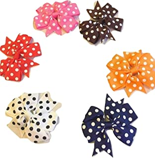"""XLdreams Imported 6 Boutique Baby Girls Colorful POLKA-DOTS Grosgrain Ribbon 3"""" Hair Bows with Alligator Clips - (All Diff..."""