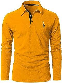 GNRSPTY Polo Uomo Lunga Manica Magliette Cotone Casual Giraffa Ricamo Golf Tennis