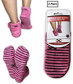 YogaAddict Non Slip Skid Socks with Grips, for Hospital Rehab, Traveling, Yoga, Pilates, Barre, Martial Arts, Trampoline, Fitness, Home Use, 1 & 2 Pairs Set, Women, Men, Kids, (Choose Your Colour)