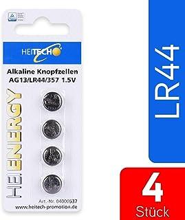 HEITECH 4-pack AG13 alkaline knoopcellen batterij TÜV getest 1,5 V - LR44 / L1154 / LR1154 / SR44 / SR44W / V13GA / 157/303 / 357 - knoopcelbatterijen lekvrij & met lange houdbaarheid