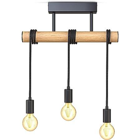 B.K.Licht I suspension 3 douilles E27 I métal et bois I noir mat I lustre rétro vintage I lampe de plafond I livré sans ampoules