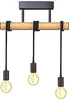 B.K.Licht I suspension 3 douilles E27 I métal et bois I noir mat I lustre rétro vintage I lampe de plafond I livré sans am...