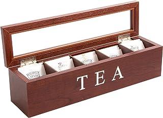 Cooper & Co. Homewares 5 Compartment Wood Tea Box, Brown