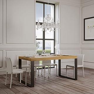 Itamoby, Table extensible Tecno Premium 180 – > 440 cm, panneaux de mélaminé, chêne naturel et anthracite L.180 x P.90 x ...