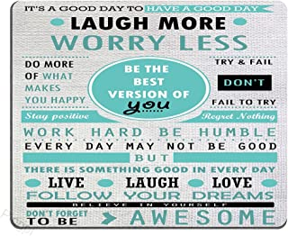 Pingpi Design Mouse Pad, Inspirational Quotes Laugh More Worry Less Don't Forget To Be Awesome,Quote pad Custom,Office mouse pad nature