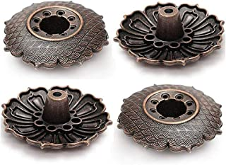 TXIN 5 Pieces Decorative Incent Burner Holder, Vintage Small Stick Insence Holder Ash Catcher Tray, Alloy Lotus Shaped Inc...