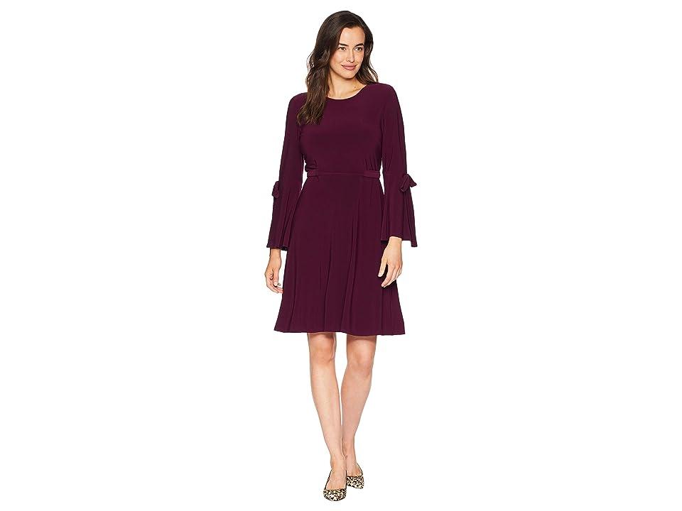 Nine West Ity 3/4 Sleeve Fit Flare Dress w/ Bow Detail (Raisin) Women