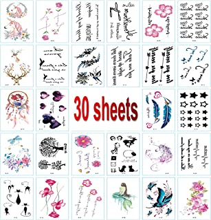 30PCS Color Temporary Tattoo Stickers, Unicorns, Flowers, Butterflies, Mermaid, Various Styles of Art Tattoo Stickers, Waterproof and Durable, Suitable for Women, Girls, Men, Holiday Dressing Tools.