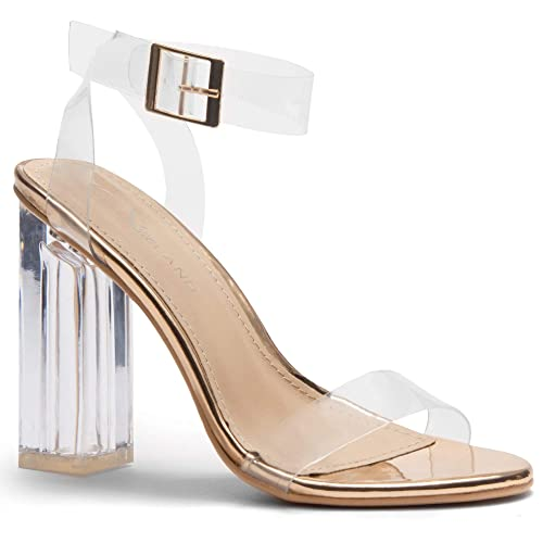 52c299c2f229 Herstyle Women s Cllaary Perpex Heel Ankle Strap Adjustable Buckle Lucite  Clear Block Chunky High Heel Open