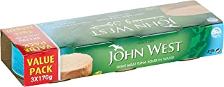 JOHN WEST Light Meat Tuna Solid Family Pack In Water, 3 x 170 gm