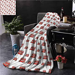 SSKJTC London Red Throw Blanket Double-Sided Printing Cute Double Decker Bus Dorm Bed Baby Cot Traveling Picnic W50 xL60