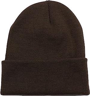 PZLE Warm Winter Hat Knit Beanie Skull Cap Cuff Beanie Hat Winter Hats for Men (Brown)
