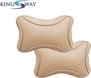 Kingsway Bone Shape car Neck Rest Pillow for Honda brio (Beige Color, Set of 2, Leatherette)
