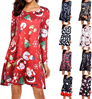 Women's Girl Christmas Pullover Flared A Line Dress Xmas Long Sleeve Santa Outfit Cozy