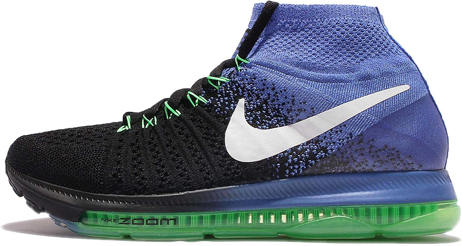 Nike Women's WMNS Zoom All Out Flyknit, Black White-Medium bluee