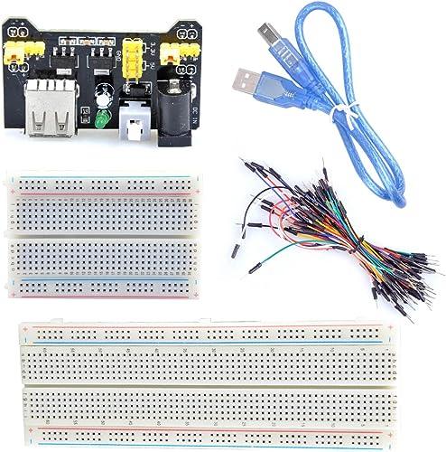UCEC 830-Point Solderless Breadboard + 400-Point Breadboard + Breadboard Jumper Wires + USB Cable + Power Module for ...