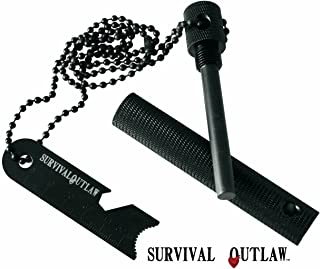 Outlaw Striker - Magnesium Water Proof Fire Starter Kit with Multi -Tool - 10,000+ Strikes - Compact Firestarter Survival Flint for Emergency, Camping, and Bushcraft.